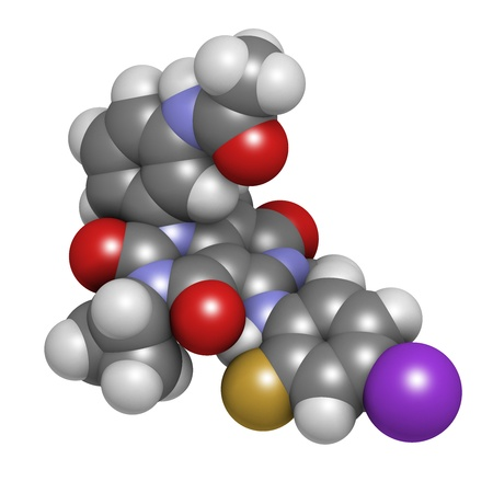 oncologist: Trametinib melanoma cancer drug, chemical structure. Atoms are represented as spheres with conventional color coding: hydrogen (white), carbon (grey), nitrogen (blue), oxygen (red), iodine (purple), fluorine (gold).
