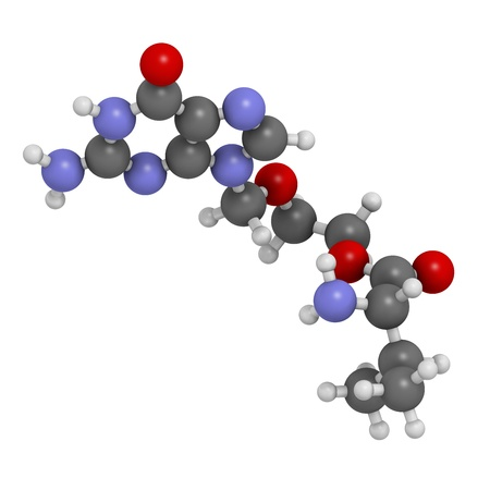 Valaciclovir (valacyclovir) herpes infection drug, chemical structure. Atoms are represented as spheres with conventional color coding: hydrogen (white), carbon (grey), nitrogen (blue), oxygen (red). Stock Photo - 21662750