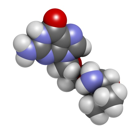 herpes simplex: Valaciclovir (valacyclovir) herpes infection drug, chemical structure. Atoms are represented as spheres with conventional color coding: hydrogen (white), carbon (grey), nitrogen (blue), oxygen (red).