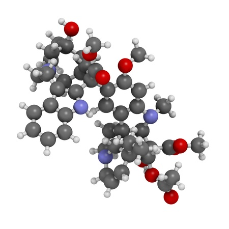 Vinblastine cancer chemotherapy drug, chemical structure. Atoms are represented as spheres with conventional color coding: hydrogen (white), carbon (grey), nitrogen (blue), oxygen (red). Stock Photo