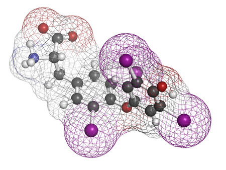 Thyroxine molecule, chemical structure. Thyroid gland hormone that plays a role in energy metabolism regulation. It is a iodine containing derivative of thyrosine. Atoms are represented as spheres with conventional color coding: hydrogen (white), carbon ( Stockfoto