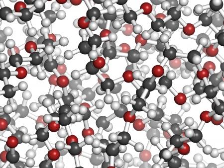 monomer: Polietilenglicol 10.000 (PEG, �xido de polietileno, PEO), mol�cula, estructura qu�mica - detalle. Formas de PEG se utilizan como laxantes, etc Atoms se representan como esferas con c�digo de colores convencionales: hidr�geno (blanco), el carb�n (gris), ox�geno (roja) Foto de archivo