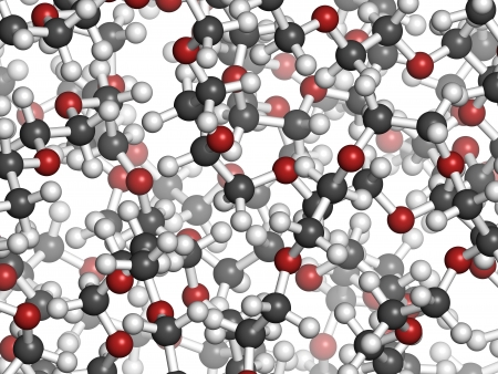 Polyethylene glycol 10.000 (PEG,  polyethylene oxide, PEO) molecule, chemical structure - detail. Forms of PEG are used as laxatives, etc Atoms are represented as spheres with conventional color coding: hydrogen (white), carbon (grey), oxygen (red) Banco de Imagens