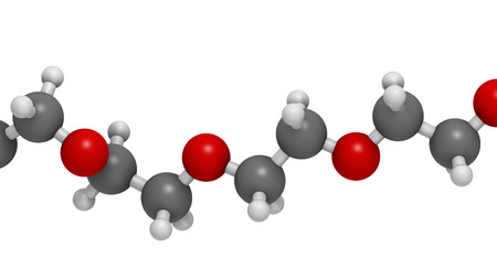peo: Polyethylene glycol 10.000 (PEG,  polyethylene oxide, PEO) molecule, chemical structure - linear fragment (detail). Forms of PEG are used as laxatives, etc Atoms are represented as spheres with conventional color coding: hydrogen (white), carbon (grey), o