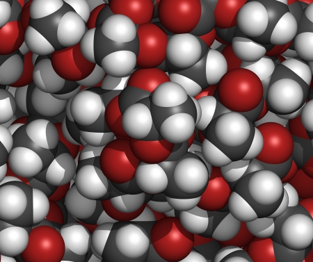 pla: Polylactic acid (PLA, polylactide) bioplastic, chemical structure - detail. Compostable polymer used in medical implants, packaging materials, etc. Atoms are represented as spheres with conventional color coding: hydrogen (white), carbon (grey), oxygen (r