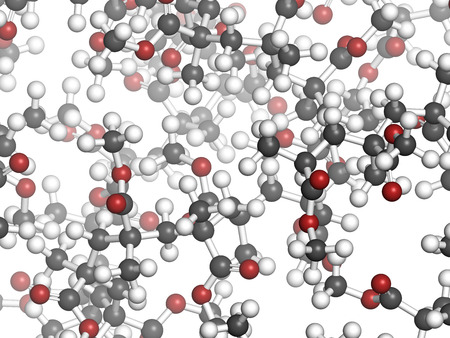 methyl: Acrylic glass (pmma, poly(methyl methacrylate) ), chemical structure - detail. Main component of acrylic paint (latex) and acrylic glass. Atoms are represented as spheres with conventional color coding: hydrogen (white), carbon (grey), oxygen (red) Stock Photo
