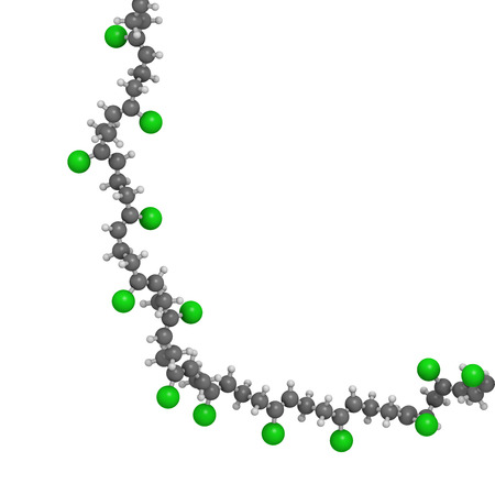monomer: Neoprene (polychloroprene) synthetic rubber, chemical structure - linear fragment (detail). Atoms are represented as spheres with conventional color coding: hydrogen (white), carbon (grey), chlorine (green) Stock Photo