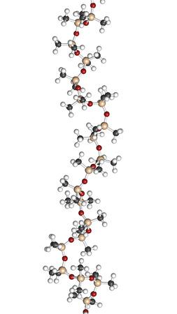 monomer: Pol�mero de aceite de silicona (polidimetilsiloxano, PDMS) de silicona, estructura qu�mica - fragmento lineal (detalle). El aceite de silicona y sustancias estrechamente relacionadas se utilizan en masilla de silicona, caucho de silicona, grasa de silicona, etc �tomos se representan como esferas con Foto de archivo