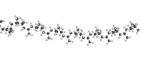 pp: Polypropylene (polypropene, PP) plastic, chemical structure - linear fragment (detail). Atoms are represented as spheres with conventional color coding: hydrogen (white), carbon (grey) Stock Photo