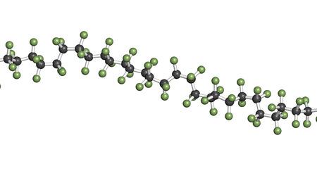 fluoride: Politetrafluoroetileno (PTFE) pol�mero, estructura qu�mica - fragmento lineal (detalle). Se utiliza como lubricante y en utensilios de cocina antiadherente. Los �tomos se representan como esferas con c�digo de colores convencionales: hidr�geno (blanco), el carb�n (gris), fl�or (verde)