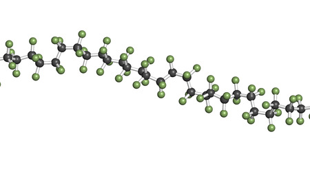 Polytetrafluoroethylene (PTFE) polymer, chemical structure - linear fragment (detail). Used as lubricant and in non-stick cookware. Atoms are represented as spheres with conventional color coding: hydrogen (white), carbon (grey), fluorine (green) Stock Photo