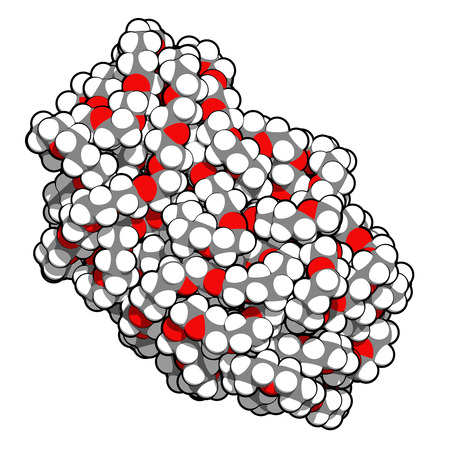 peo: Polyethylene glycol 10.000 (PEG,  polyethylene oxide, PEO) molecule, chemical structure. Forms of PEG are used as laxatives, etc Atoms are represented as spheres with conventional color coding: hydrogen (white), carbon (grey), oxygen (red) Stock Photo
