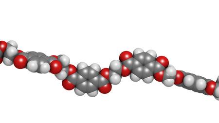 monomer: Tereftalato de polietileno (PET, PETE) de pl�stico de poli�ster, estructura qu�mica - fragmento lineal (detalle). Se utiliza principalmente en las fibras sint�ticas y las botellas de pl�stico. Los �tomos se representan como esferas con codificaci�n convencional color: hidr�geno (blanco), el carb�n (gris), Foto de archivo