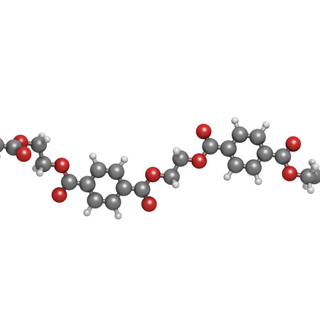 monomer: Polyethylene terephthalate (PET, PETE) polyester plastic, chemical structure - linear fragment (detail). Mainly used in synthetic fibers and plastic bottles. Atoms are represented as spheres with conventional color coding: hydrogen (white), carbon (grey),