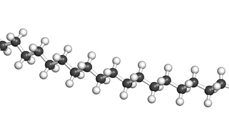 Polyethylene (PE, polythene, polyethene) plastic, chemical structure - linear fragment (detail). Atoms are represented as spheres with conventional color coding: hydrogen (white), carbon (grey) Stock Photo