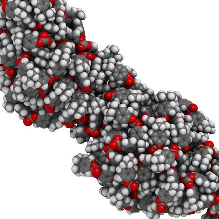 monomer: Policarbonato (PC) de pl�stico, estructura qu�mica. Hecho de fosgeno y bisfenol A. Los �tomos se representan como esferas con codificaci�n convencional color: hidr�geno (blanco), el carb�n (gris), ox�geno (roja) Foto de archivo