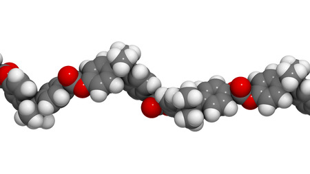monomer: Polycarbonate (PC) plastic, chemical structure - linear fragment (detail). Made from phosgene and bisphenol A. Atoms are represented as spheres with conventional color coding: hydrogen (white), carbon (grey), oxygen (red)
