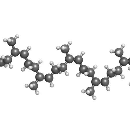 Natural rubber (cis-1,4-polyisoprene), chemical structure - linear fragment (detail). Used to manufacture surgeons gloves, condoms, boots, car tires, etc. Atoms are represented as spheres with conventional color coding: hydrogen (white), carbon (grey)