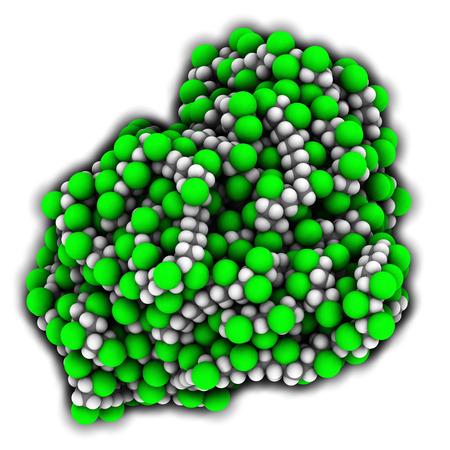 monomer: poli (cloruro de vinilo) de pl�stico (PVC), la estructura qu�mica. Se utiliza en la producci�n de tuber�as, marcos de ventanas, aislamiento de cables el�ctricos, discos de vinilo, etc Los �tomos se representan como esferas con codificaci�n convencional color: hidr�geno (blanco), el carb�n (gris), cloro (