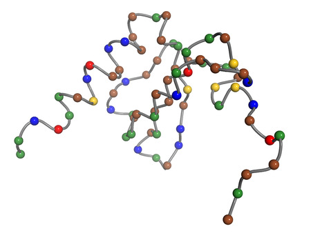 CXCL1 cytokine (AKA melanoma growth-stimulatory activity), chemical structure. Implicated in the pathogenesis of melanoma skin cancer. Pearls on a string model (each pearl is 1 residue). Residue coloring: red (Glu, Asp), blue (Lys, Arg, His), gold (Met, C