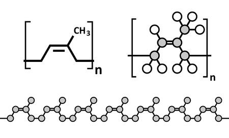 天然ゴム (cis 1, 4-ポリイソ プレン)、化学構造。外科医の手袋、コンドーム、ブーツ、車のタイヤの製造に使用される、等します。複数の表現。