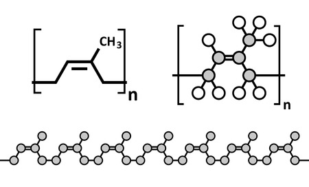 condoms: Natural rubber (cis-1,4-polyisoprene), chemical structure. Used to manufacture surgeons gloves, condoms, boots, car tires, etc. Multiple representations. Illustration