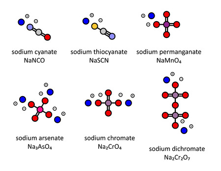 Sodium salts (set 3): Sodium cyanate, thiocyanate, permanganate, arsenate, chromate, dichromate. Atoms shown as color-coded circles.