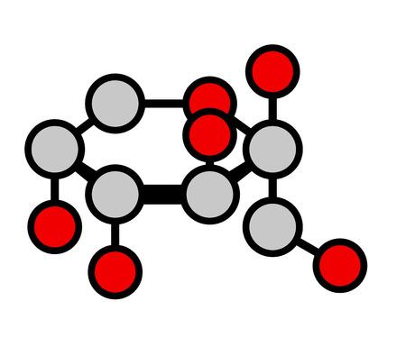 fruttosio: Frutta zucchero fruttosio (beta-D-fructopyranose form). Formula scheletrico stilizzato, gli atomi visualizzati come cerchi colorati, atomi di H omesso per chiarezza.