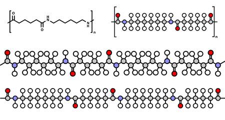 Nylon (nylon-6,6) plastic polymer, chemical structure. Multiple representations. Illustration