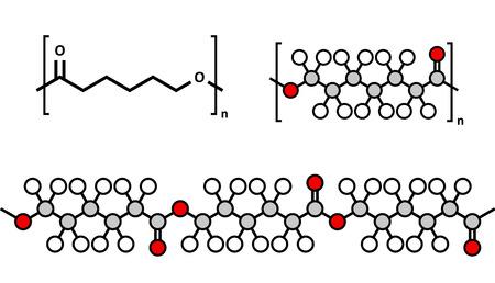 biomedical: policaprolattone (PCL) poliestere biodegradabile, struttura chimica. Frequentemente utilizzate per applicazioni biomedicali e per la prototipazione rapida. Rappresentazioni multiple.
