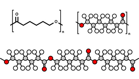 biodegradable: polycaprolactone (PCL) biodegradable polyester, chemical structure. Frequently used for biomedical applications and for rapid prototyping. Multiple representations.