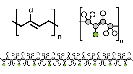 Neoprene (polychloroprene) synthetic rubber, chemical structure. Multiple representations.