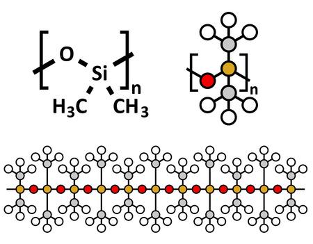 シリコーン油 PDMS (ポリジメチルシロキサン) シリコーンポリマー、化学構造。シリコーン オイルと密接に関連物質コーキングをシリコーン、シリ