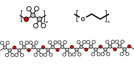 peo: Polyethylene glycol (PEG) molecule, chemical structure. Forms of PEG are used as laxatives, etc. Multiple representations.