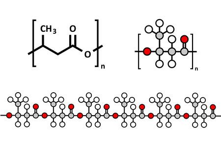 poliester: Polihidroxibutirato (PHB) de pl�stico biodegradable, estructura qu�mica. Pol�mero que se deriva tanto de bio-y compostable. Varias representaciones. Vectores