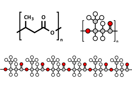 Polyhydroxybutyraat (PHB) biologisch afbreekbaar plastic, chemische structuur. Polymeren die zowel biologisch verkregen en composteerbaar. Meerdere representaties.