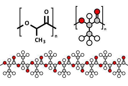 poliester: El �cido polil�ctico (PLA, polilactida) biopl�stico, la estructura qu�mica. Con pol�mero biodegradable usado en implantes m�dicos, materiales de embalaje, etc m�ltiples representaciones. Vectores