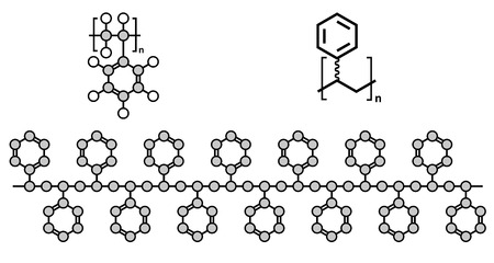 szigetelés: Polisztirol (PS) műanyag, a kémiai szerkezetét. Használt szigetelő anyagok, játékok, csomagolás, élelmiszer tartályok, stb Több ábrázolások. Illusztráció
