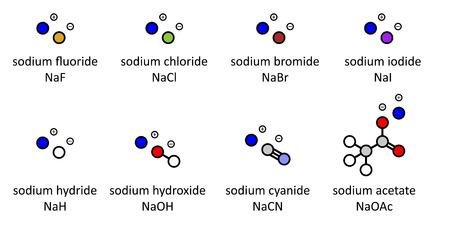 Sali di sodio (set 2): fluoruro di sodio, cloruro, bromuro, ioduro, idruro, idrossido, cianuro, acetato. Atomi visualizzati come cerchi colorati.
