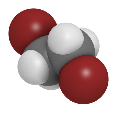glycol: Ethylene dibromide (EDB, 1,2-dibromoethane) fumigant molecule.  Atoms are represented as spheres with conventional color coding: hydrogen (white), carbon (grey), bromine (brown).