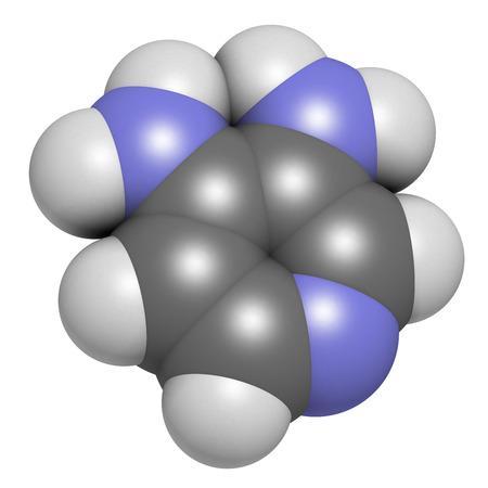 wees: Amifampridine (3,4-diaminopyridine, 3,4-DAP) weesgeneesmiddel. Gebruikt om zeldzame spierziekten te behandelen. Atomen worden weergegeven als bollen met conventionele kleurcodering: waterstof (wit), koolstof (grijs), stikstof (blauw).