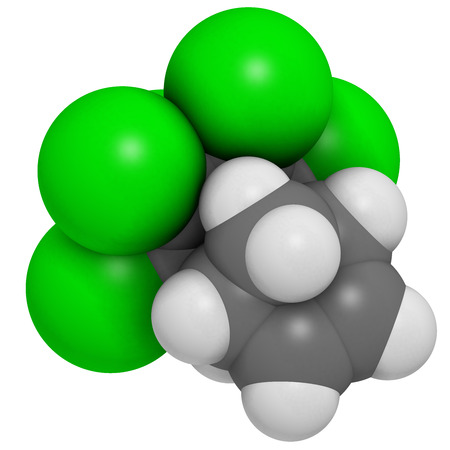 pollutant: Aldrin banned pesticide. Once widely used as insecticide, known as a persistent organic pollutant. Atoms are represented as spheres with conventional color coding: hydrogen (white), carbon (grey), chlorine (green).