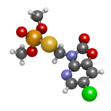 phosphorus: Azamethiphos pesticide molecule. Used in flypaper, veterinary medicine, etc. Atoms are represented as spheres with conventional color coding: hydrogen (white), carbon (grey), nitrogen (blue), oxygen (red), chlorine (green), sulfur (yellow), phosphorus (or