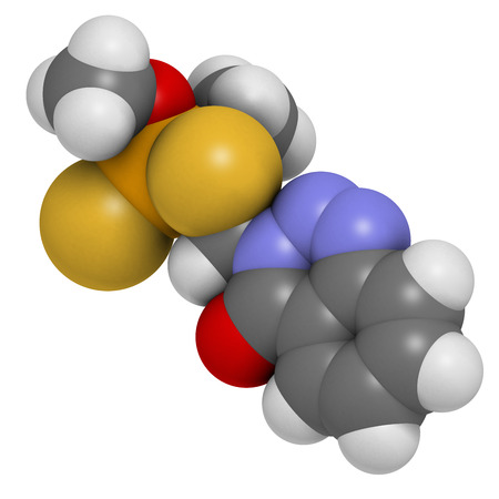 acetylcholine: Azinphos-methyl organophosphate insecticide. Acts as neurotoxin through the inhibition of acetylcholinesterase. Atoms are represented as spheres with conventional color coding: hydrogen (white), carbon (grey), nitrogen (blue), oxygen (red), sulfur (yellow Stock Photo