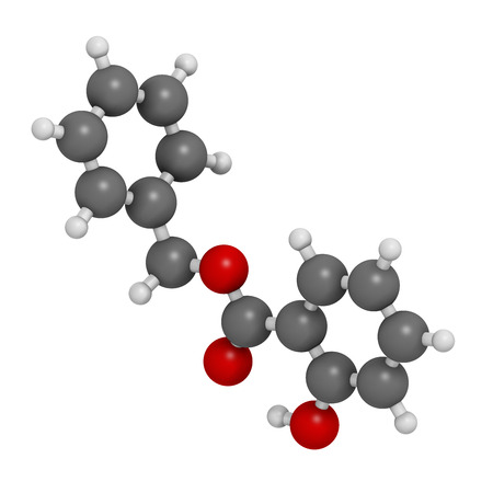 salicylate: Benzyl salicylate (benzyl 4-hydroxybenzoate) molecule. Used in cosmetics and perfumes. Atoms are represented as spheres with conventional color coding: hydrogen (white), carbon (grey), oxygen (red).