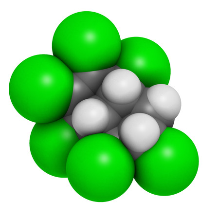 accumulation: Chlordane banned pesticide molecule. Highly toxic and carcinogenic insecticide. Atoms are represented as spheres with conventional color coding: hydrogen (white), carbon (grey), chlorine (green).