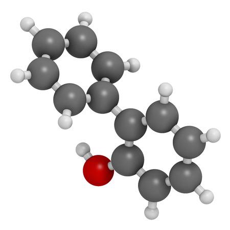 살균제: 2 - 페닐 페놀의 살 생물 분자. 또한 biphenylol 및 orthophenyl 페놀로 알려진 일반적으로 사용되는 방부제. 수소 (흰색), 탄소 (회색), 산소 (적색) : 원자는 기존의 컬러 코딩 분야로 표시됩니다. 스톡 사진