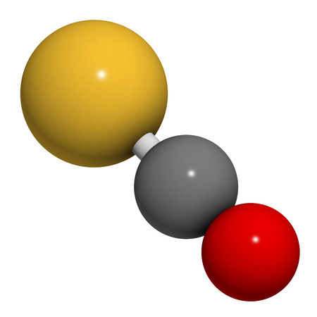 disulfide: Carbonylsulfide (COS) molecule. Foul smelling gas, naturally present in the atmosphere and in cheese, cabbage, etc. Atoms are represented as spheres with conventional color coding: sulfur (yellow), carbon (grey), oxygen (red).