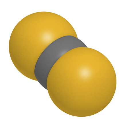 disulfide: Carbon disulfide (CS2) molecule. Liquid used for fumigation and as insecticide. Atoms are represented as spheres with conventional color coding: sulfur (yellow), carbon (grey).