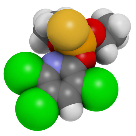 Chlorpyrifos organophosphate pesticide molecule. Toxic and carcinogenic. Mainly used in agriculture. Atoms are represented as spheres with conventional color coding: hydrogen (white), carbon (grey), nitrogen (blue), oxygen (red), sulfur (yellow), phosphor Imagens